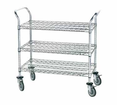 """Advance Tabco WUC-1836P Chrome Wire Utility Cart with Three Shelves, 18"""" x 36"""""""