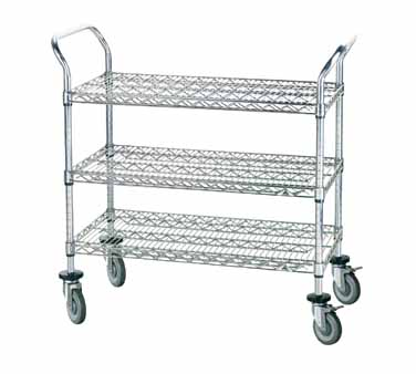 "Advance Tabco WUC-2442P Chrome Wire Utility Cart with Three Shelves, 24"" x 42"""