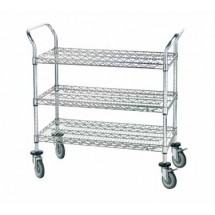 "Advance Tabco WUC-2442R Chrome Wire Utility Cart with Three Shelves, 24"" x 42"""