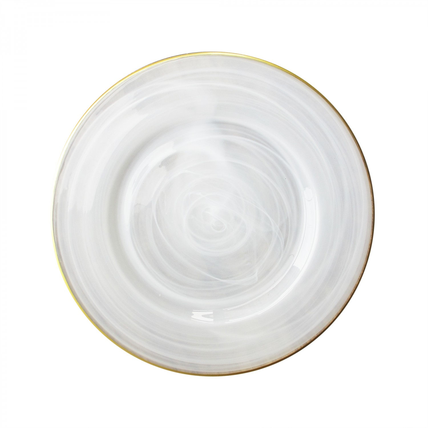 The Jay Companies 1470353 Round Alabaster Gold Rim Glass Charger Plate 13""