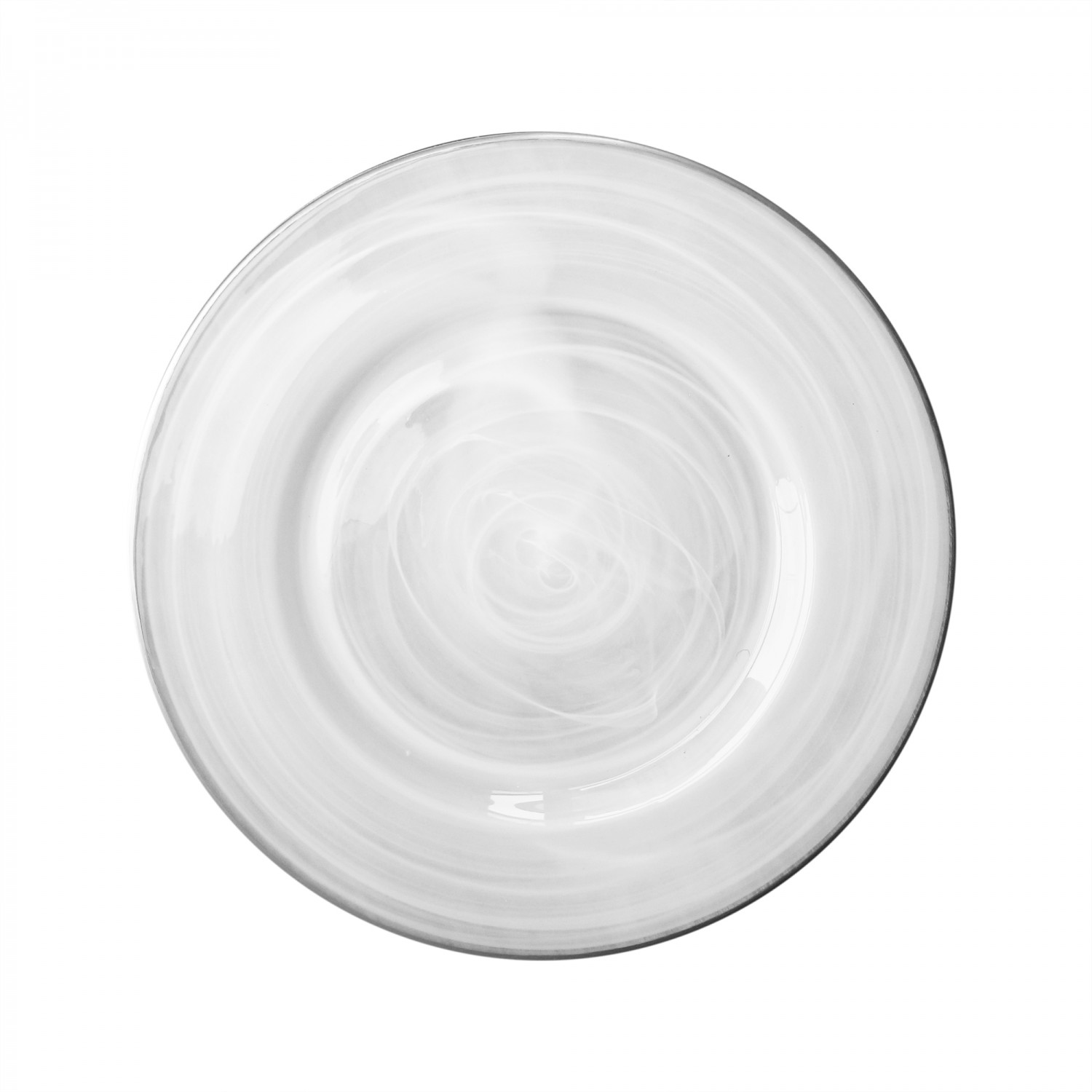The Jay Companies 1470354 Round Alabaster Silver Rim Glass Charger Plate 13""