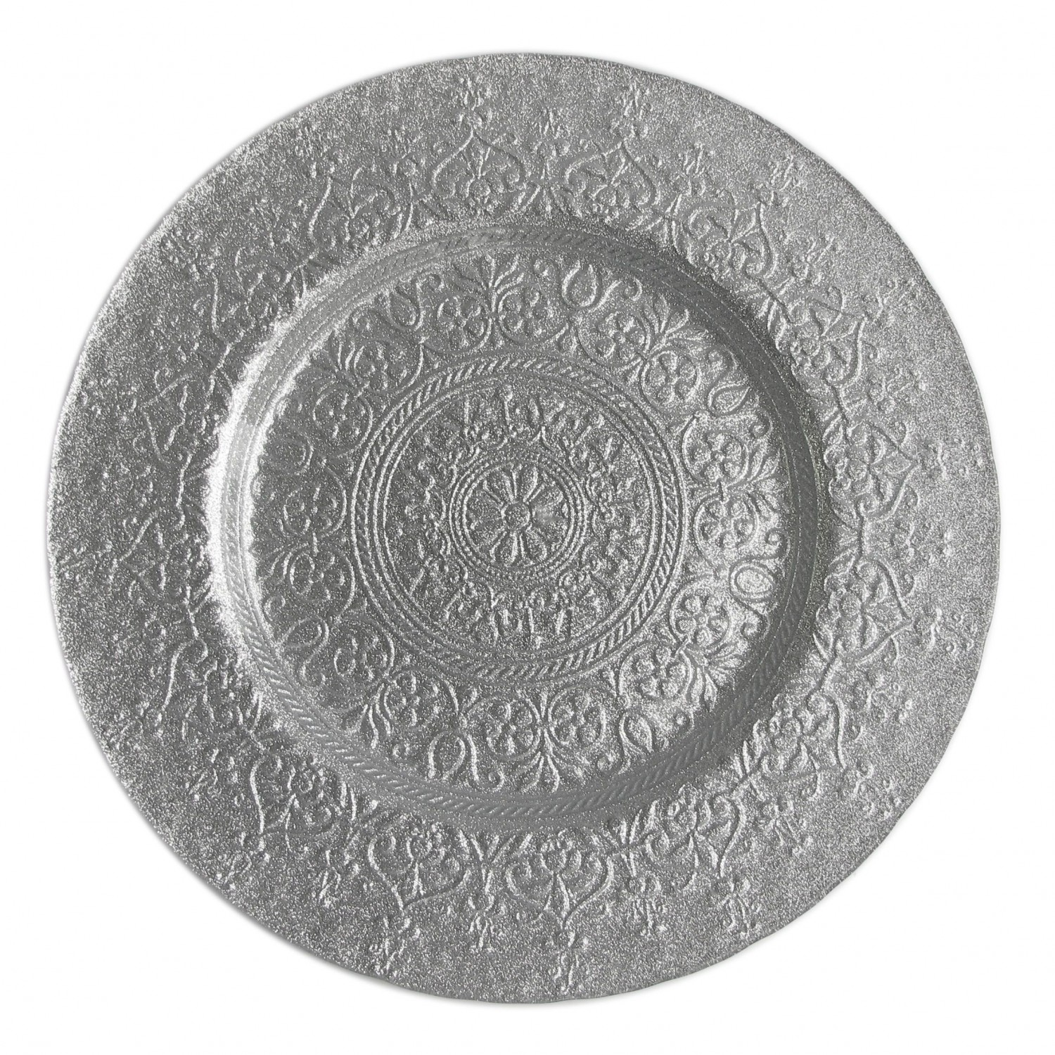 The Jay Companies 1900048 Round Alinea Silver Glass Charger Plate 13""