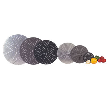 """Allied Metal PDQ8 8"""" Aluminum 61 Hole Perforated Pizza Disc with Non-Stick Black Buster Coating - 1 doz"""