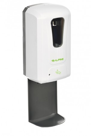Alpine 430-L-T Automatic Hands-Free Gel Hand Sanitizer/Soap Dispenser with Drip Tray, White, 1200 ml,