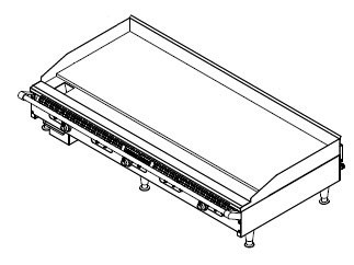 "American Range AETG-72 Thermostatically Controlled 72"" W Gas Griddle Count Unit with 4 Legs"