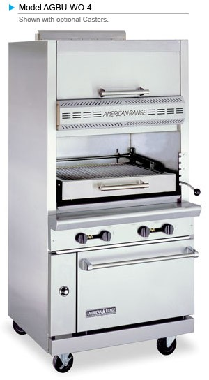 American Range AGBU-WO-4 Single Deck Infrared Gas Broiler with Top Warming Oven