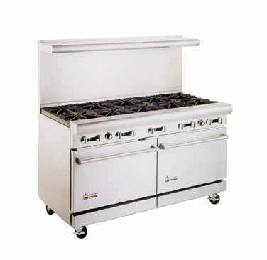 "American Range AR-10 60"" Heavy Duty Restaurant Range with 10 Burners and 2 Ovens"