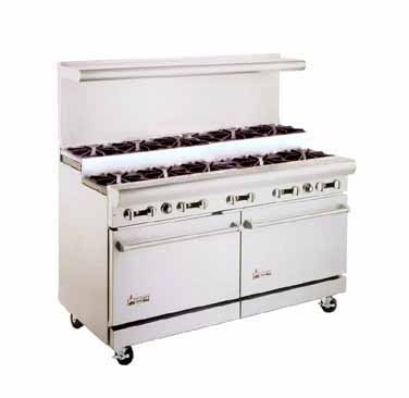 """American Range AR-10-SU 60"""" Heavy Duty Restaurant Range with 10 Step Up Burners and 2 Ovens"""
