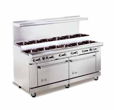"American Range AR-12-SU 72"" Heavy Duty Restaurant Range with 12 Step Up Burners and 2 Ovens"