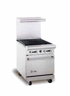 "American Range AR-2RB 24"" Heavy Duty Restaurant Range with Char Broiler and 1 Oven"