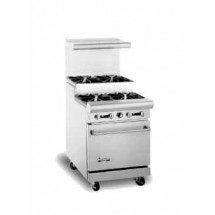 "American Range AR-4-SU 24"" Heavy Duty Restaurant Range with 4 Step Up Burners and 1 Oven"