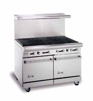 """American Range AR-4RB 48"""" Heavy Duty Restaurant Range with Char Broiler and 2 Ovens"""