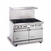 "American Range AR-4RB 48"" Heavy Duty Restaurant Range with Char Broiler and 2 Ovens"