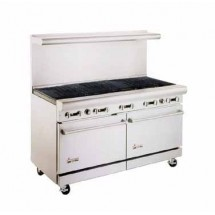 "American Range AR-5RB 60"" Heavy Duty Restaurant Range with Char Broiler and 2 Ovens"