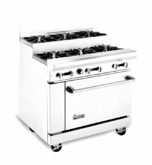 "American Range AR-6-SU 36"" Heavy Duty Restaurant Range with 6 Step Up Burners and 1 Oven"