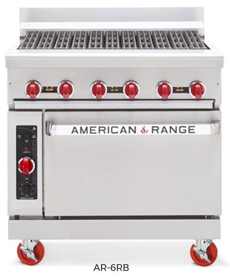 "American Range AR-6RB 72"" Heavy Duty Restaurant Range with Char-Broiler and 2 Ovens"