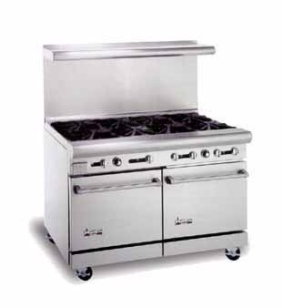 "American Range AR-8 48"" Heavy Duty Restaurant Range with 8 Burners and 2 Ovens"