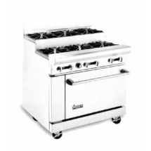 "American Range AR-8-SU 48"" Heavy Duty Restaurant Range with 8 Step Up Burners and 2 Ovens"