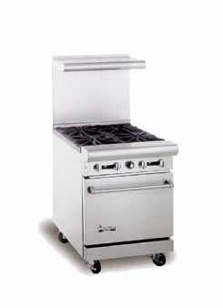 """American Range AR12G-2B 24"""" Heavy Duty Restaurant Range with 12"""" Griddle and 2 Burners and 1 Oven"""