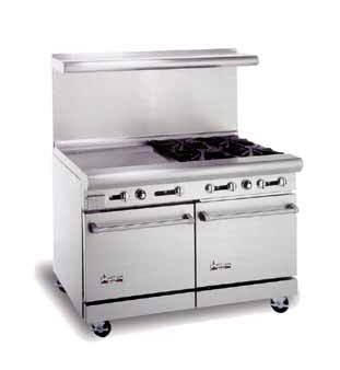 "American Range AR12G-6B 48"" Heavy Duty Restaurant Range with 12"" Griddle and 6 Burners and 2 Ovens"