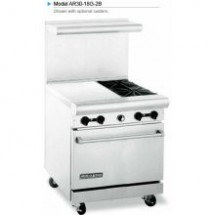 "American Range AR30-18G-2B 30"" Heavy Duty Restaurant Range with 18"" Griddle and 2 Burners and  1 Oven"