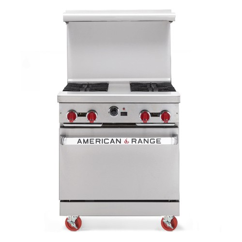 "American Range AR30-4B  30"" Heavy Duty Restaurant Range with 4 Burners and 1 Oven"
