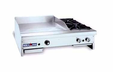 American Range AR36-24TG2OB Thermostatically Controlled Wide Gas Griddle / Hotplate Counter Unit with 2 Burners 36""