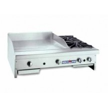 "American Range AR48-36G2OB Gas Griddle / Hotplate 48"" Wide Counter Unit with 36"" Griddle and 2 Burners"