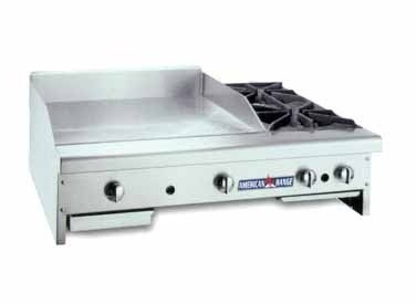 """American Range AR48-36G20B Gas Griddle / Hotplate 48"""" Wide Counter Unit with 36"""" Griddle and 2 Burners"""