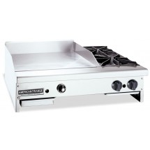 "American Range AR48-36TG20B Thermostatically Controlled 48"" Wide Gas Griddle / Hotplate with 2 Burners"