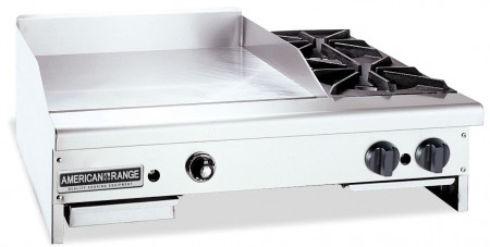 "American Range AR48-36TG2OB Thermostatically Controlled 48"" Wide Gas Griddle / Hotplate with 2 Burners"