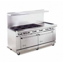 "American Range AR48G-4B 72"" Heavy Duty Restaurant Range with 48"" Griddle and 4 Burners and 2 Standard Ovens"