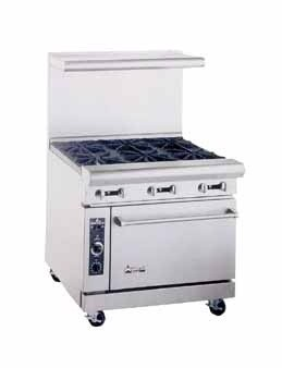 "American Range AR4B-12RG 36"" Heavy Duty Restaurant Range with 12"" Raised Griddle and 4 Burners and 1 Oven"