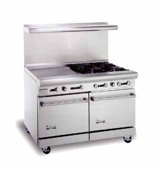 """American Range AR4B-24RG 48"""" Heavy Duty Restaurant Range with 24"""" Raised Griddle and 4 Burners and 2 Ovens"""