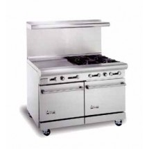 "American Range AR4B-24RG 48"" Heavy Duty Restaurant Range with 24"" Raised Griddle and 4 Burners and 2 Ovens"