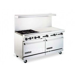 "American Range AR4B-36RG 72"" Heavy Duty Restaurant Range with Raised Griddle and 8 Burners and 2 Ovens"