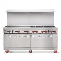 "American Range AR60G-2B 72"" Heavy Duty Restaurant Range with 60"" Griddle and 2 Burners and 2 Ovens"