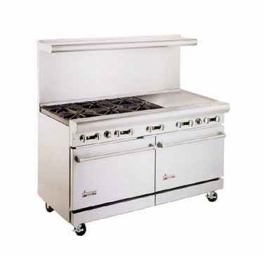 "American Range AR6B-24RG 60"" Heavy Duty Restaurant Range with 24"" Raised Griddle and 6 Burners and 2 Ovens"