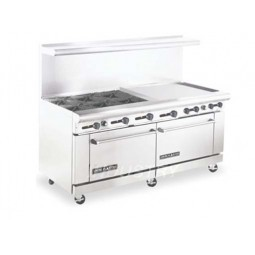 """American Range AR6B-36RG 72"""" Heavy Duty Restaurant Range with 36"""" Raised Griddle and 6 Burners and 2 Ovens"""