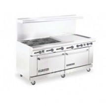 "American Range AR6B-36RG 72"" Heavy Duty Restaurant Range with 36"" Raised Griddle and 6 Burners and 2 Ovens"