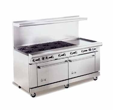 "American Range AR8B-24RG 72"" Heavy Duty Restaurant Range with 24"" Raised Griddle and 8 Burners and 2 Ovens"