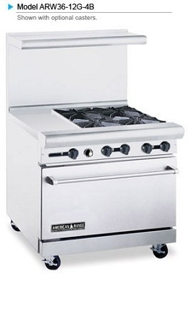 "American Range ARW36-12G-4B 36"" Heavy Duty Restaurant Range with 24"" Griddle and 4 Burners and 32"" W Oven"