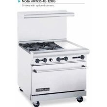 """American Range ARW36-4B-12RG 36"""" Heavy Duty Restaurant Range with 12"""" Griddle and 4 Burners and 32"""" W Oven"""