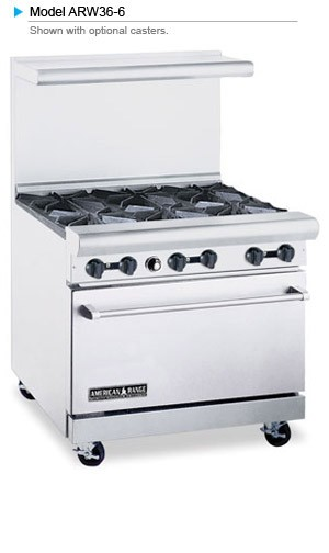 "American Range ARW36-6 36"" Heavy Duty Restaurant Range with 6 Burners and 32"" W Oven"