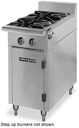 "American Range HD17-2SU-O Medallion Series 17"" Heavy Duty Range with 2 Step-Up Burners and Storage Base"