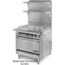 """American Range HD34-17TG-1FT-O  Medallion Series 34"""" Heavy Duty Range with 17"""" Thermostatic Griddle/French Top Combination and Storage Base"""