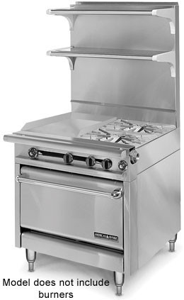 "American Range HD34-17TG-1FT-O  Medallion Series 34"" Heavy Duty Range with 17"" Thermostatic Griddle/French Top Combination and Storage Base"