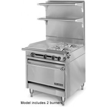 """American Range HD34-17TG-2-1C 2- Burner Medallion Series Heavy Duty 34"""" Gas Range with Thermostatic Griddle - Convection Oven"""
