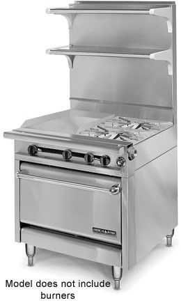 "American Range HD34-17VG-1FT-O Medallion Series 34"" Heavy Duty Range with French Top/Griddle Combination and Storage Base"
