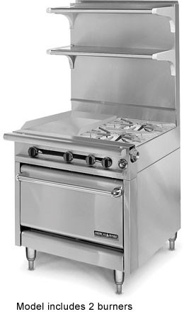 "American Range HD34-17VG-2-1C Medallion Series 34"" Heavy Duty Range with Griddle/Open Burner Combination with Convection Oven"
